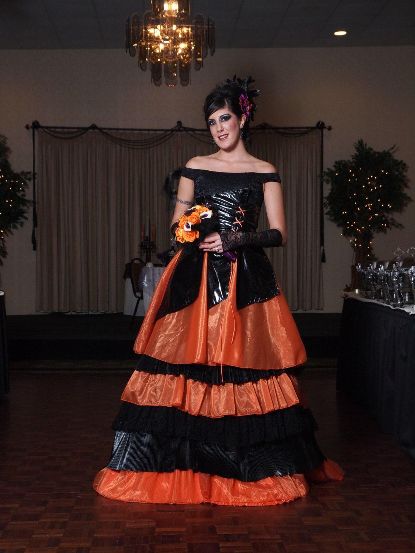 Orange and black wedding dress halloween by weddingdressfantasy