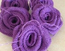 Burlap Roses-Set of 6-Purple