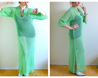 Neon Green Transparent Daisy Maxi Dress- Hippie, Boho, Coachella, Cover Up, Beachwear, Hipster
