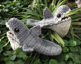 Shark Crochet Home Slippers, Unisex Slippers, House Shoes, Indoor Slippers, Gifts for Her, Gifts for Him