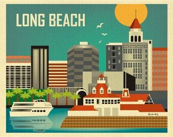 Long Beach CA Art Print, Long Beach CA Skyline Wall Art, Long Beach horizontal print,  Orange County, Long Beach art gift  - style E8-O-LO