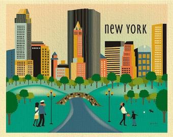 New York City Skyline print,  New York City wall art, Central Park Print, NY Print, New York poster, NYC Gift, Loose Petals style E8-O-CP