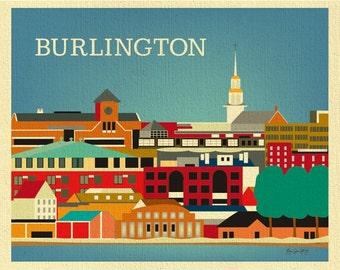 Burlington Print, Burlington Skyline Art, Vermont Print, Burlington horizontal Wall Art, Burlington VT Print, Loose Petals style - E8-O-BUR