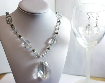 Wire Wrapped Pendant Beaded Statement Necklace with Clear Glass Beads with Tarnished Silver Accents - Necklace and Matching Earrings Set
