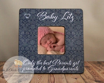 Fingerprint Heart Picture Frame, Unique Grandparent or Parent Gift, Only The Best Parents Get Promoted To Grandparents Frame