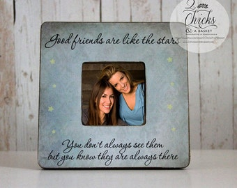 Good Friends Are Like Stars Picture Frame, Handcrafted Picture Frame, Shabby Chic Picture Frame