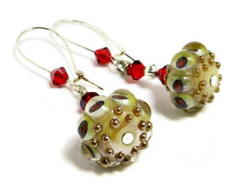 Golden Lampwork,  Red Swarovski Crystal & SIlver Fluted Bead Earrings