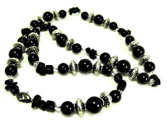 Black Onyx, SP Textured Rondelle Beads, & Swarovski Crystal Necklace