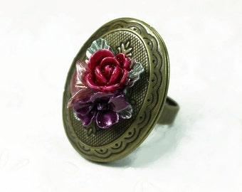 Antiqued Brass Locket Ring with Flower Cabochon - Pink - Red - Purple - Vintage Style  - Adjustable