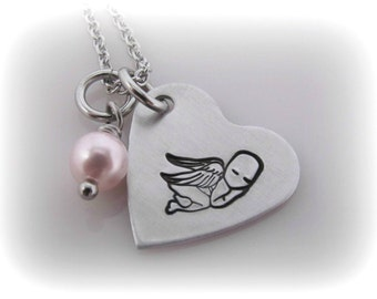 Miscarriage Necklace Angel Baby Memorial Pregnancy Loss Infant Baby Loss Remembrance Jewelry Mommy of an Angel