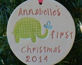 Baby's first Christmas ornament with elephant personalized with childs name and year