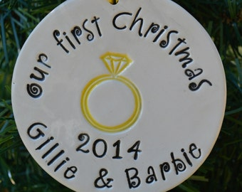 personalized engagment ornament. our first Christmas made to order, Christmas tree ornament