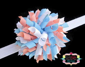 Girls Blue and Coral Boutique Baby Girl Korker Hair Bow Clip, Korker Bow on Shimmery White Elastic Headband, Toddler Headband, 809