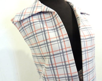 vintage plaid pantsuit - 1970s Manicotti white/blue/red plaid knit vest/pants set