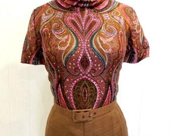 vintage paisley mod dress set - 1960s Fabiola David Barr brown/purple paisley dress & jacket set