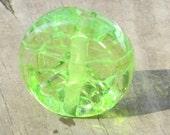 Transparent Green Peace Sign Lampwork Glass Bead Handmade SRA Unique OOAK NLC Beads leteam