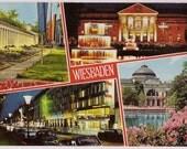 Germany Postcard - Wiesbaden Travel Souvenir Post Card - Kurstadt Wiesbaden  - Brunnenkolonnade Kurhaus - German Travel