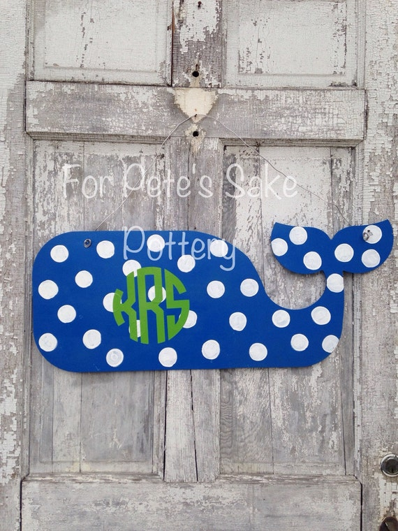 Monogrammed, Hand painted, Preppy, whale door or dorm room hanger