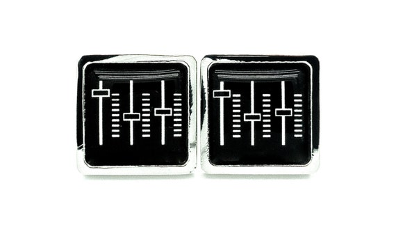 Cufflinks - Musical Stereo Controls - Mens Music Jewellery - Black and White