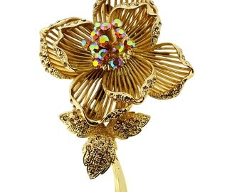 Golden Topaz Crystal Rose Flower Pin Brooch 1001371