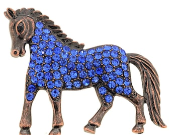 Vintage Style Sapphire Blue Horse Crystal Pin Brooch 1002921