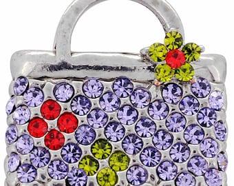 Purple Lady Handbag Swarovski Crystal Pin Brooch 1010631