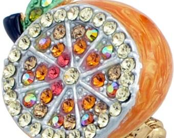 Orange Fruit Swarovski Crystal Pin Brooch 1000331
