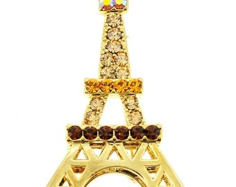 Golden Eiffel Tower Crystal  Brooch and Pendant  1000552