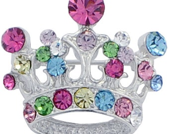Multicolor Crown Swarovski Crystal Brooch Pin 1000611