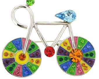 MultiColor Crystal Bicycle Pin Brooch 1001353