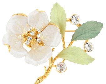 White Flower Swarovski Crystal Pin Brooch 1011343