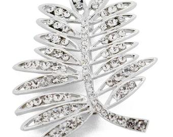 Crystal Elm Tree Leaves Pin Brooch 1003591