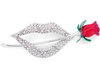 Crystal Lip With Red Rose Flower Pin Brooch 1003652