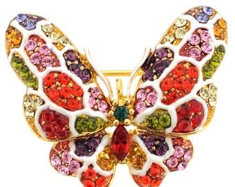 Multicolor Swarovski Crystal Butterfly Brooch Pin 1010311