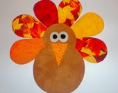 Iron On Applique TURKEY BOY or GIRL..Fall Leaves With Red Orange Yellow