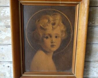Vintage  Framed Little Angel or Cherub Girl Picture Adorable 1940's