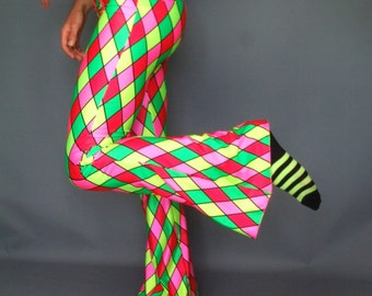 "Neon Harlequin Pants, Flare Rave Bootlegs, Flared Leggings, UV Pink, Green, Red, Yellow Lycra, Spandex Bell Bottom, S/M, 34"" Leg Length"
