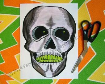 Printable Digital DIY Halloween Decor Clip Art Graphics Skull Skeleton Clipart Instant Download