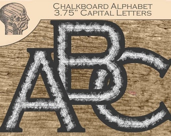 Digital Chalkboard Alphabet Capital Letters Banner Chalk Letters Sign 3.75 Inches Instant Download Printable Letters Bulletin Board Letters
