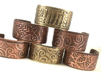 Copper and Brass Cuffs Swirls Floral Squares
