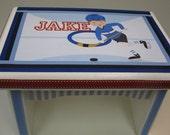 Hockey Theme Sturdy Wood Bench-Great Newborn or 1st Birthday Gift