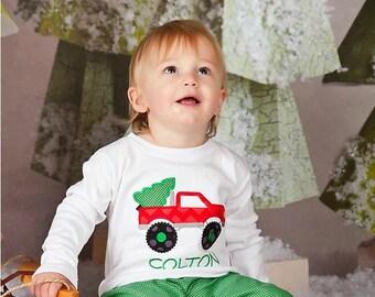 Boys Christmas Monster Truck Shirt, Personalized Shirt, Christmas Shirt, Boys Christmas Shirt