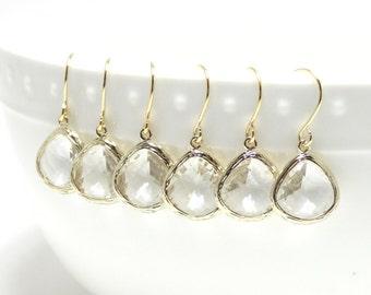 Clear earring. Clear glass gold earrings. Glass dangle earrings. Tear drop earring. Crystal earrings. Wedding jewelry. Bridesmaid earrings.