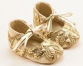 Party Baby Shoes, Baby Girl Shoes, Baby Shower Gift, Baby Girl Shoes, Golden baby shoes, Crib Shoes by Vibys
