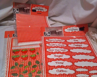 Vintage 4 Pack of Gingham Paper and Labels