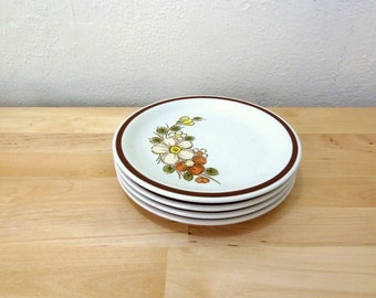Vintage Floral Plates / Oven to Table / Woodhaven Collection / Brown Flower Print / Salad Plates / Ovenware / Sunnybrook / Dinnerware