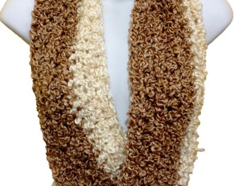 Crochet Circle Infinity Scarf Cowl Light Brown & Ivory