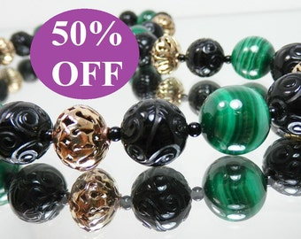 NOW 50% OFF - Carved Black Onyx, Malachite and Bronze Necklace