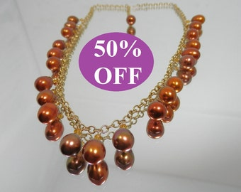 50% OFF -  Copper Freshwater Drop Pearls and Gold Filled Chain Necklace