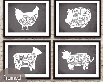 Chicken, Pig, Sheep, Cow (series B) Butcher Diagram Series - Set of 4 Art Prints (Featured in Charcoal)
